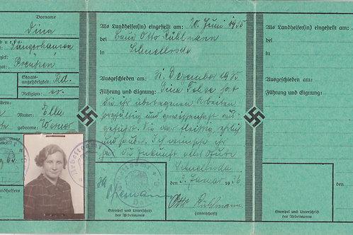 Landhelfer Brief to a Female Worker from Sangerhausen (Prussia)