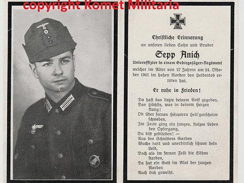 sterbebild-death card Gebirgsjäger Heeresspringerabzeichen