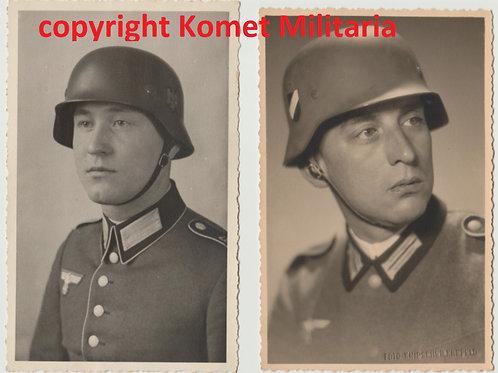 2x Wehrmacht Portrait Foto mit Stahlhelm