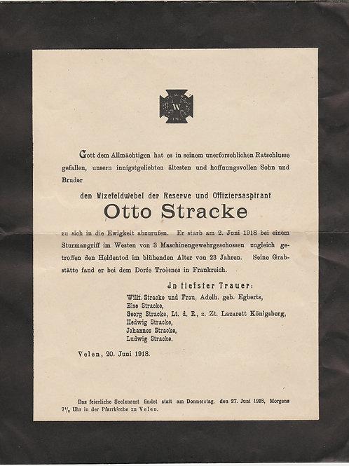 WWI Obituary Vizefeldwebel Otto Stracke