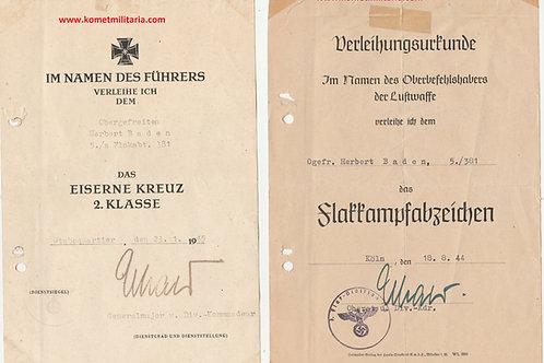 2x Urkunde sch. Flakabteilung 381 Köln EK2+Flakkampfabzeichen