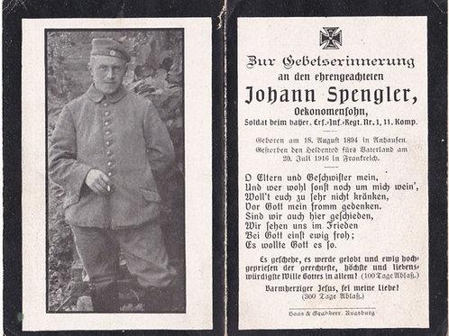 sterbebild/ death card 1916 France KIA death card