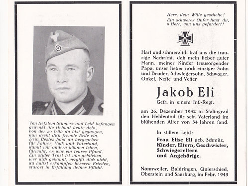 sterbebild-death card Gefreiter infantry KIA Stalingrad 1942