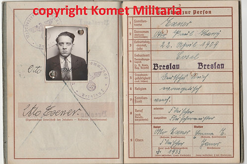 Wehrpass Otto Exner, Infanterie Regiment 183, KIA Eastern Front