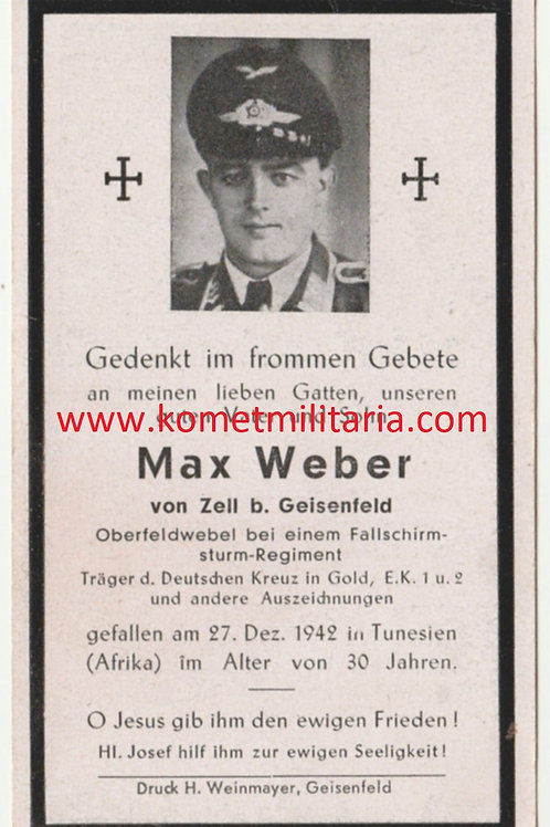 sterbebild-death card Oberfeldwebel Fallschirmjäger Sturmregiment DKIG Holder
