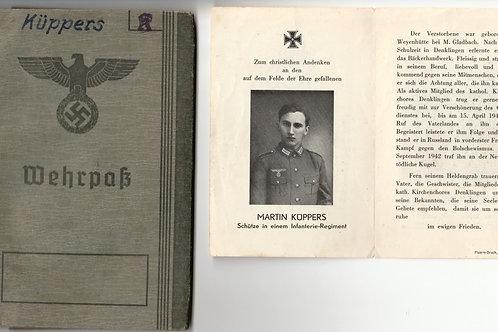 Death Card + Wehrpass Martin Küppers KIA Tortolowo (Newa Front) IR 438