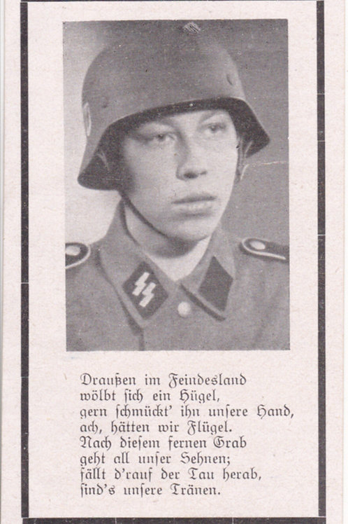 sterbebild-death card SS Panzergrenadier kia 1944 Eastern Front