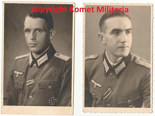 2x Wehrmacht Portrait Offizier EK1 Träger