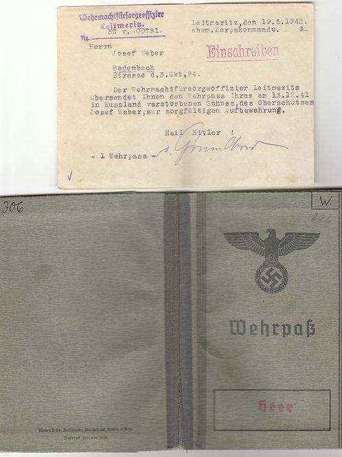 Wehrpass Oberschütze  Infanterie Regiment 445, 134. Infanterie Division