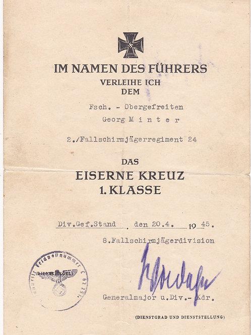 Award Document Iron Cross First Class (EK1) Fallschirmjäger Regiment 24