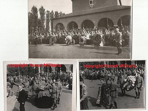 3 Fotos Beerdigung der Bombenopfer Manfort-Leverkussen 1943