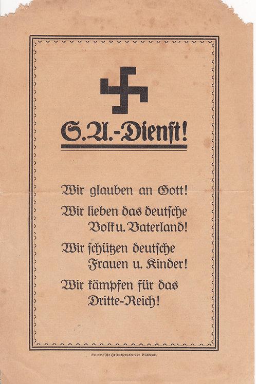 SA Dienst: SA Propaganda Leaflet Bückeburg 1931!