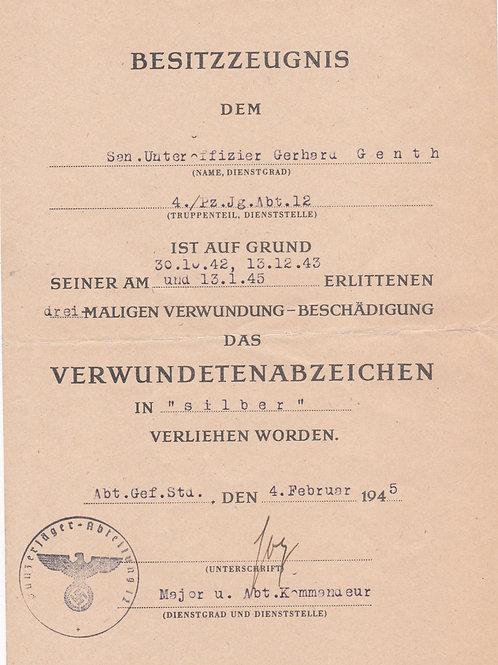 Award Document Wound Badge Silver 4/PZ.Jg.Abt.12