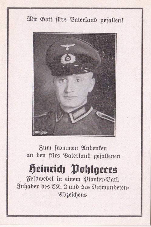 Pionier Felwebel kia Cherbourg 1944 death card