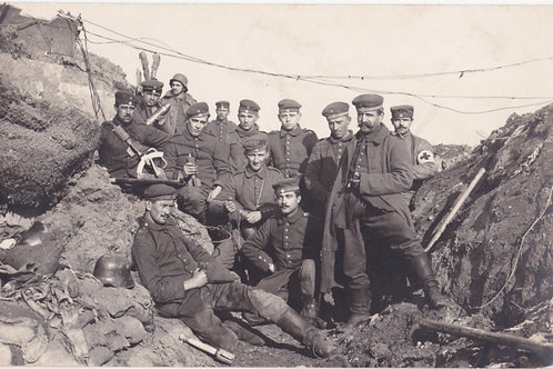 WWI trench group picture with camouflaged twin-telescope and Granatenwerfer 16