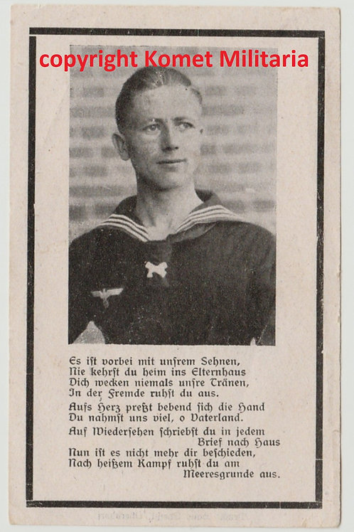 sterbebild-death card U-Boat (U609), Maschinengefreiter 1943 North Atlantic
