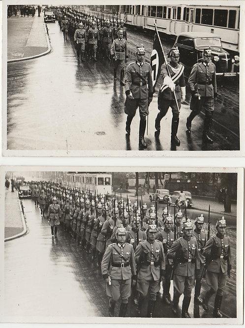 2x Postcard sized Picture 3. Reich Gendarmerie Parade