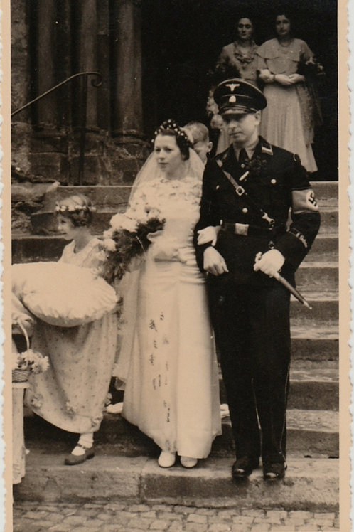 """4x Wedding Portrait Allgemeine SS Standarte 48 Leipzig """"8. Gutsche""""honor cuff"""
