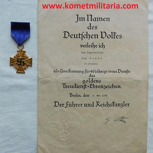 Urkunde Treudienst-Ehrenzeichen 40 Jahre Zugschaffner+Auszeichnung