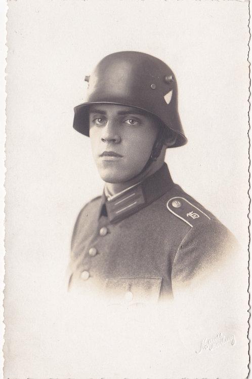 Portrait Reichswehr soldier with stahlhelm
