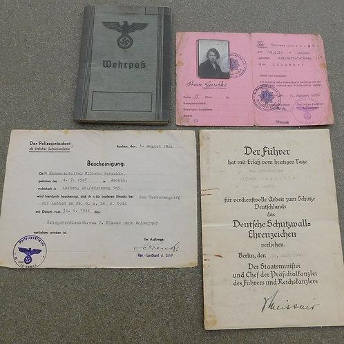 Wehrpass/ Award Documents/ RLB Ausweis Bombenangriff Aachen Mai 1944