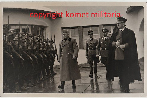 Postcard picture Mussolini and Hitler meeting  Berghof, Obersalzberg April 1942