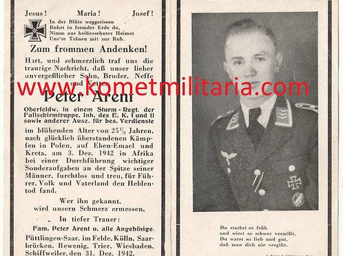 sterbebild-death card Oberfeldwebel Arent, Sturmgruppe Granit Eben Emael