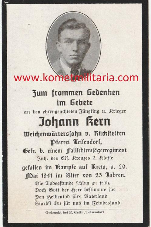 sterbebild-death card Fallschirmjäger 5. komp. Sturmregiment kia Kreta 1941