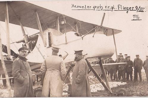 WWI shot down English plane postcard sized