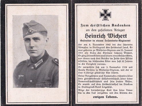 Stalingrad 1942 KIA death card
