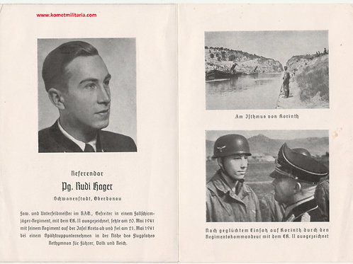 sterbebild-death card Fallschirmjäger  kia Kreta 1941 Rethymnon