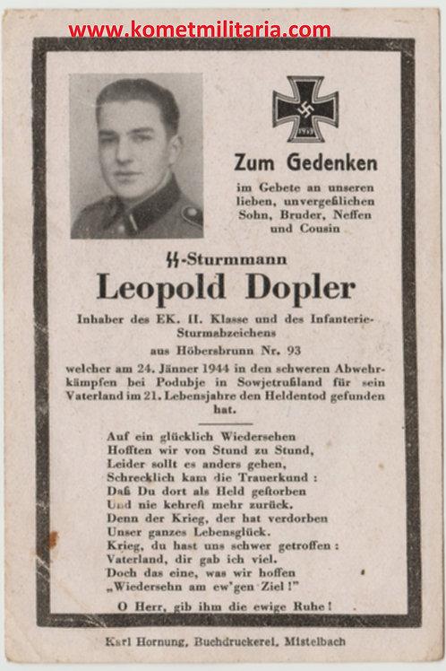 sterbebild-death card SS Sturmmann