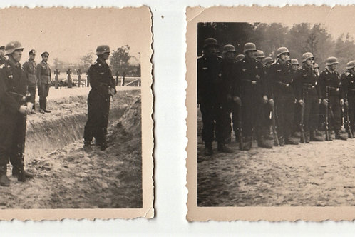 2 x picture Panzertruppe Funeral with Heer Chaplain