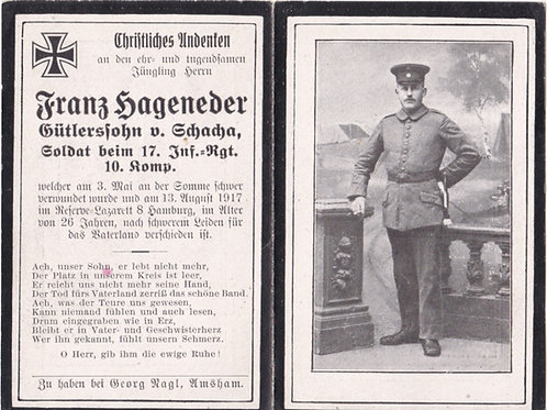 sterbebild/ death card 1917 wounded Somme death card