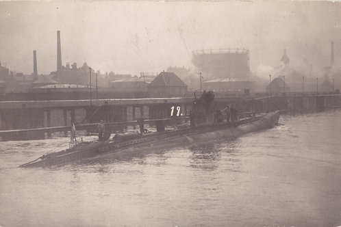 WWI postcard sized picture U-Boot im Hafen