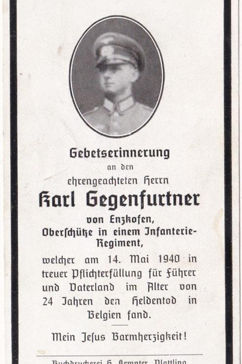 1940 Belgium KIA death card
