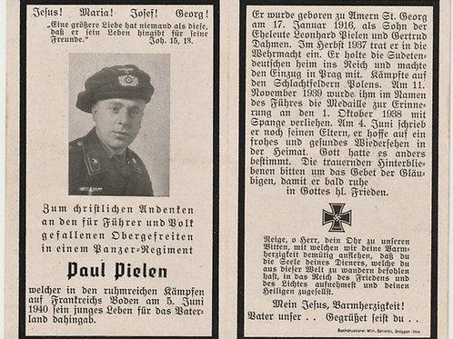Sterbebild-death card Obergefreiter Panzer regiment KIA France 1940