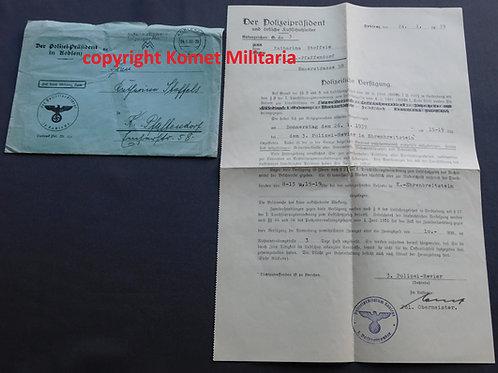 Luftschutz, Polizeiliche Verfügung 1939 mit Umschlag