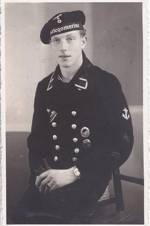 Kriegsmarine Portrait with Destroyer Badge in wear
