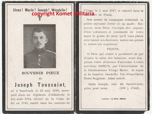 WWI sterbebild-death card  KIA Aisne Front 1917