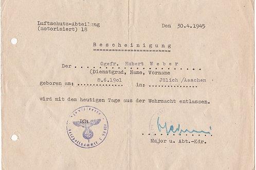 Bescheinigung Luftschutz-Abteilung 18 military dismissal