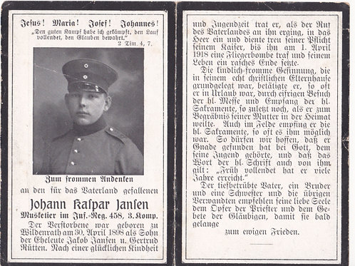 sterbebild- death card infantry Reg. 458 KIA 1/4/1918