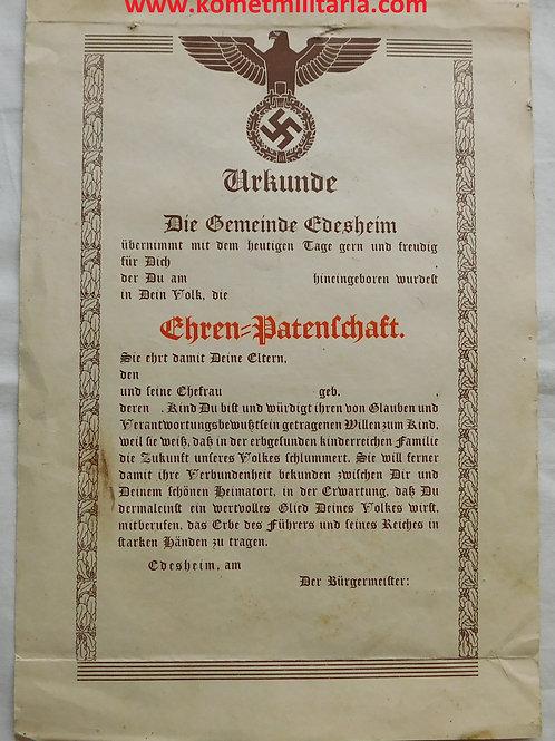 Urkunde Ehrenpatenschaft Gemeinde Edesheim