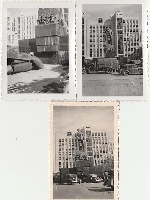 3x Foto Sitz der SS Führung Rusland Mitte, Minsk