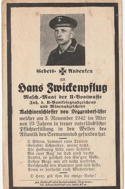 sterbebild-death card U-Boat (U-658) Maschinenmaat 1942