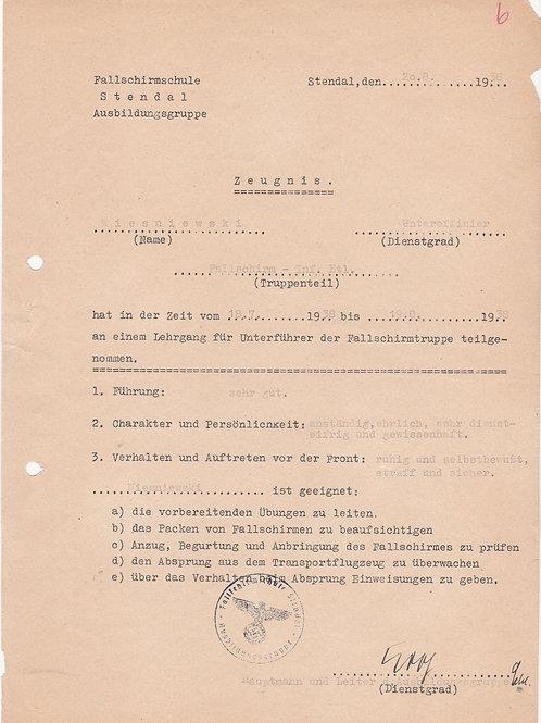 Fallschirmjäger Infanterie Btl. Certificate 1938, Kroh signature!