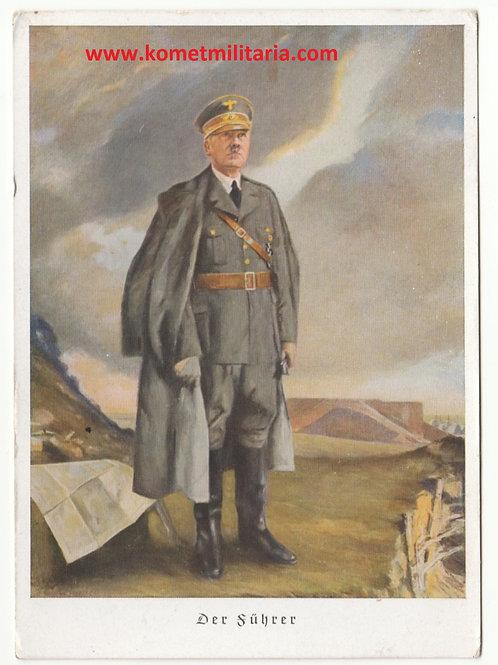 Propaganda Postkarte farb Adolf Hitler-der Führer
