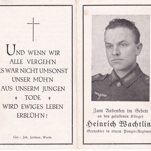 sterbebild-death card Panzer Afrikakorps kia Tunesien 1943