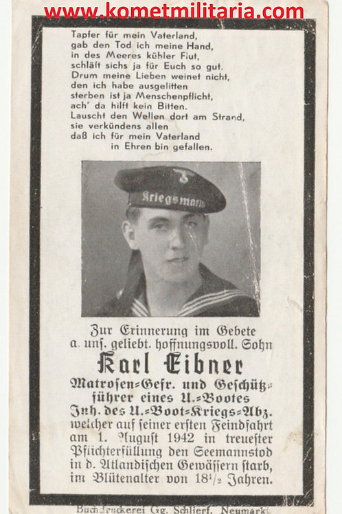 sterbebild-death card U-Boat(U588) Matrosen-Gefreiter und Geschützführer