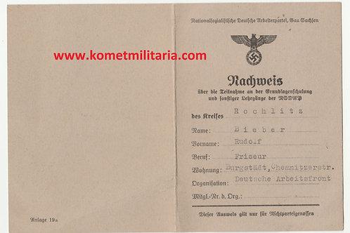 NSDAP Nachweis Gau Sachsen-Grundlagenschulung u. Lehrgänge der NSDAP